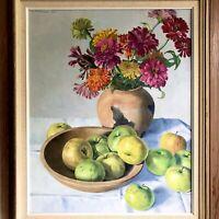 """Still Life Flowers Apples Bowl 25.5"""" Vtg Oil Painting 1964 Hans Weingaertner"""
