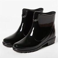 Women's Rain Boots Rubber Waterproof Short Tube Anti-slip Work Water Shoes Flat