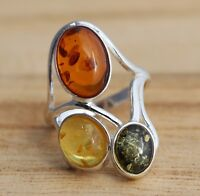 Multi-Colour Baltic Amber 925 Sterling Silver Ring Jewellery