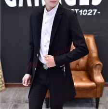 Trench Chic Men Prom Lapel Collar Slim Fit Formal Dress Long Coat Jacket Blazers
