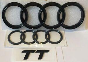 Audi TT MK2 Black Gloss Front & Boot Rings Logo Emblem Set Top Quality