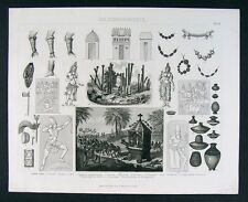 1874 Print Ancient India Hindu Culture Krishna Temple Sculpture Beads Ceramics