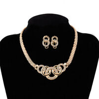 Women Crystal Pendant Collar Bib Statement Necklace Chain Earrings Set Jewelry