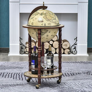 HOMCOM Globe Retro Style Mini Bar Drink Cabinet Mobile Wine Beverage Trolley