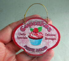 DOLLHOUSE MINIATURE ~ HANGING CUPCAKE SHOP SIGN by LORRAINE SCUDERI