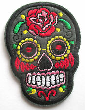 Totenkopf Muerto Aufnäher / Aufbügler sugar skull patch Rockabilly biker Kutte