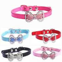 KQ_ AU_ BG_ BL_ Crystal Bowknot Pet Cat Kitten Puppy Suede Collar With Bell Ho