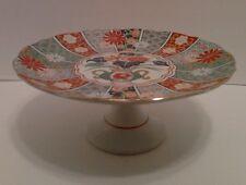 Arita Imari Fan Japan Pedestal Serving Cake Plate Fine China Floral Rust Green