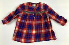 Crewcuts Girls Dress 4 Red Blue Plaid Embroidered Collared Long Sleeve
