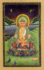 Hand Painted Lord Buddha Painting On Silk Cloth Fine Art Finest By Indian Artist