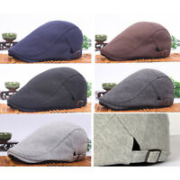 Men Women Casual Solid Color Beret Peaked Driving Flat Hat Baker Casquette Cap