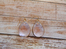 ANTHROPOLOGIE EARRINGS CLEAR PINK TEAR DROP DANGLE HOOK GOLD TONE RIM NEW #057