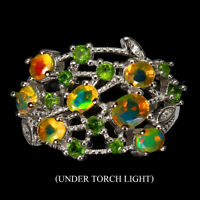 Unheated Oval Fire Opal 5x4mm Chrome Diopside Cz 925 Sterling Silver Ring
