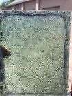 """Antique Vintage Stained Glass Window Panel Piece 5 x 6"""" green textured surface"""