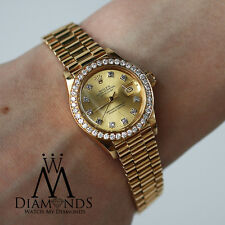 26mm Women's Solid Yellow Gold Rolex Presidential Watch with Diamond Bezel Dial