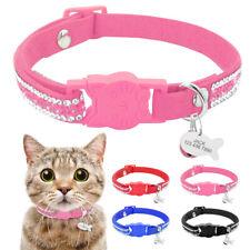 Bling Rhinestone Pet Cat Personalised Collars Breakaway Necklace ID Tag Engraved