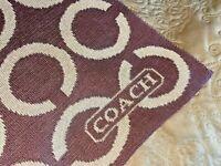 "Coach Brown Tan Wool Scarf Logo Knit 70"" x 12"" Signature Winter Designer"