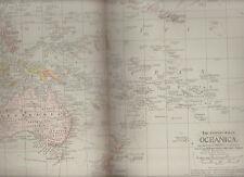 Oceanica Century Atlas 1897 Antique Map #114 11 3/4 x 16 Australia