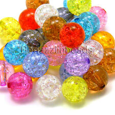 Lot of 50 Assorted Colored 10mm Round Crackle Plastic Acrylic Loose Mixed Beads