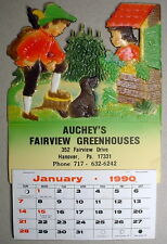 Hunting Dog Boy Girl Aucheys Greenhouses Die Cut Vintage Calendar Germany 2018