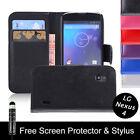 PU étui rabat cuir pour LG Google Nexus 4 E960+ Protecteur D'écran +Stylet