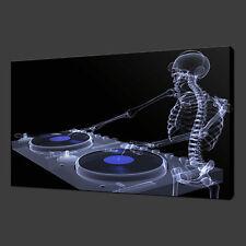 Scheletro DJ Blu Funky CANVAS Wall Art STAMPA FOTO 30 X 20 Pollici Wall Art