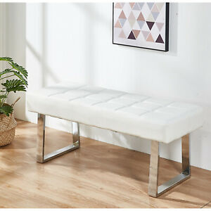Dining Bench Long Seat Chairs Grey Faux PU Leather Lounge Stool Base Steel Home