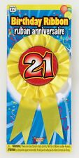 21 st Birthday BIRTHDAY RIBBON ROSETTE Pin Back Button Party supplies