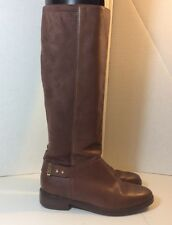 COLE HAAN Sz 6B Brown Leather Micro Suede Riding Boots, Knee High Pull On