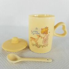 Vtg Precious Moments Coffee Tea Cup Mug Lid Spoon Good Friends Are Forever