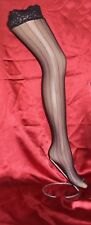 3 Pairs Black Fishnet Striped Lace Top Holdup Stockings