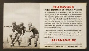 Football Sports National Drug Company Allantomide Ink Blotter Philadelphia PA