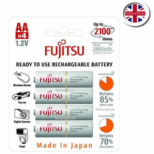 Fujitsu WHITE 2000 mAh AA NiMH rechargeable batteries (4 pack) - Made in Japan