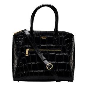 Osprey London Croc Women's Handbag, Leather with 2 Slip Pockets in Black