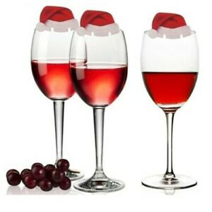 Pack of 10 Santa Hats Wine Glass Place Card Christmas Day Accessory UK Seller