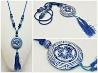 Vintage Blue White Chinese Porcelain Bead Knotted Cord Tassel Medallion Necklace