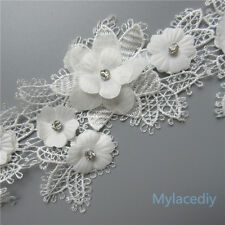 1pcs Vintage Flower Diamond Lace Edge Trim Wedding Ribbon Applique Crochet Patch