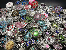 wholesale assorted 100pcs antique silver 18mm Snap Charms Rhinestone DIY Buttons