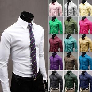 Herren Slim Fit Hemd Business Bügelleicht Langarm Shirt Anzug Hemden Hochzeit DE