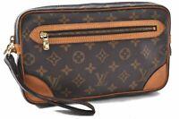 Auth Louis Vuitton Monogram Marly Dragonne Clutch Hand Bag M51825 LV A8880