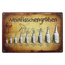 """Nostalgie Blechschild """"Weinflaschengrößen / Wein / Flasche"""""""