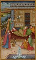 Vintage Indian Mughal Painting The Empress is Resting Old Miniature Artwork