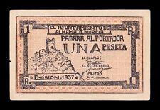 B-D-M España Billete Local Alhama de Murcia 1 Peseta 1937 Nº05788 SC- aUNC