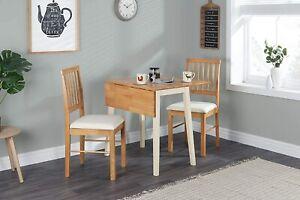 Birlea Lille Drop Leaf Solid Wood Dining Table w/ 2 Chairs Kitchen Set Oak Cream