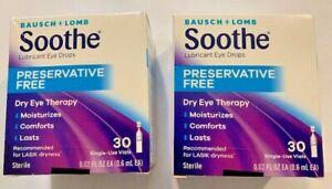2PK / B & L Preservative Free Lubricant Eye Drops, 30 single-use vials, Ex 12/21