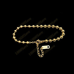 """Solid 18K Yellow Gold Filled Tarnish-Free 8""""/10""""*4mm Italian Bead Chain Anklet"""