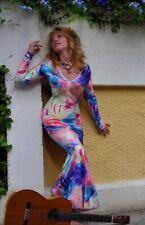 Vestido Largo Cola de pescado con manga larga colorido Reino Unido 12