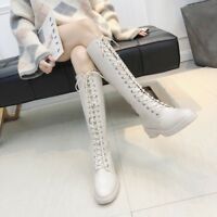 Womens Ladies Knee High Riding Boots Lace Up Low Heel Flat Military Combat Shoes