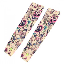 Star Flower Colourful Pattern Fake Tattoo Arm Art Sleeve Oversleeve 2Pcs