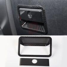 2*Carbon Fiber Car Co-pilot storage box handle Trim Cover for Ford F150 2015-17